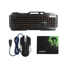 Desktop Gaming Keyboard + Mechanical Feel LED Mouse with Light Backlit