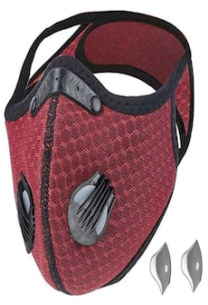 Image of Bundle - 2 items: reusable washable cycling sport shield face mask and activated carbon filters Universal Black/Red Half-Face Robotic