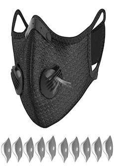 Image of Bundle - 2 items: reusable washable cycling sport shield face mask and activated carbon filters Universal Black Half-Face Robotic