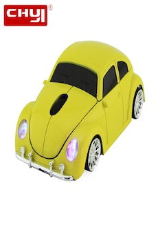 Image of CHYI Wireless Computer Mouse Gamer Cool Beetle Car Shape Mice 1600DPI Optical Gaming Mause With USB Receiver Yellow