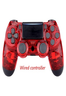 Image of PS4 Wired Controller Dual Shock 4 Gamepad For Sony Playstation 4 Transparent Red
