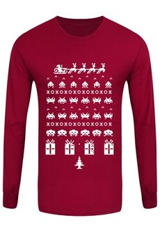 """Image of Men's Gamers Long Sleeve Christmas Tshirt Red Large (Mens 40""""to 42"""")"""