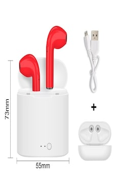 i7s tws bluetooth earphones with charging pods for iphone xiaomi huawei samsung - red