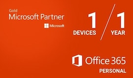 Microsoft Office 365 Personal (PC/Mac) - 1 Device 1 Year - Microsoft Key - EUROPE