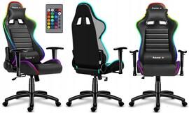 Fotel Gamingowy GRACZA HUZARO RGB ŚWIECI PILOT