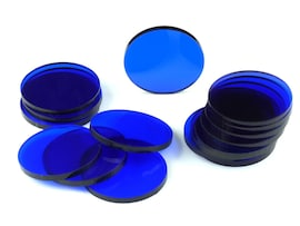 Acrylic miniature bases (15 pcs), round, clear, blue 32 x 3 mm
