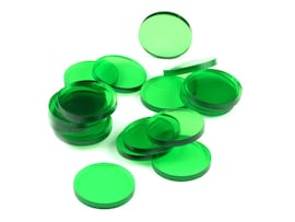 Acrylic miniature bases (20 pcs), round, clear, green, 25 x 3 mm