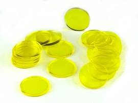 Acrylic miniature bases (20 pcs), round, clear, yellow, 25 x 3 mm
