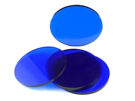 Acrylic miniature bases (5 pcs), round, clear, blue 55 x 3 mm