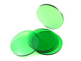 Acrylic miniature bases (5 pcs), round, clear, green, 55 x 3 mm