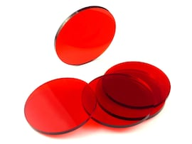 Acrylic miniature bases (5 pcs), round, clear, red, 60 x 3 mm