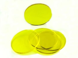 Acrylic miniature bases (5 pcs), round, clear, yellow 60 x 3 mm