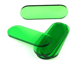 Acrylic miniature bases (5 pcs), stadium/pill, clear, green, 70x25x3  mm
