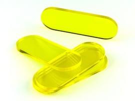 Acrylic miniature bases (5 pcs), stadium/pill, clear, yellow 70x25x3  mm