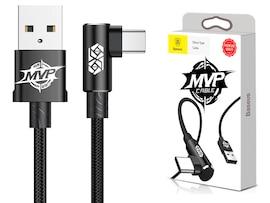 BASEUS KĄTOWY KABEL USB-C OPLOT CZARNY 1 m 2A