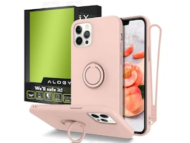 Etui silikonowe Ring Ultra Slim Alogy do iPhone 12/ 12 Pro 6.1 Różowe