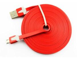 Kabel microUSB do Samsung LG płaski -  CZERWONY