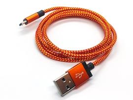 Kabel microUSB do Samsung LG -  POMARAŃCZOWY