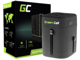 GC® Universal Travel Adapter Green Cell with Two USB Ports for Electrical Outlets USA / UK / AUS / China