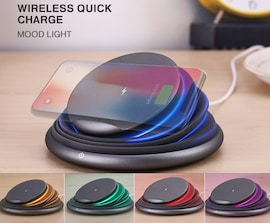 Foldable LED Light Destop 10W Qi Fast Wireless Phone Charger Stand for iPhone X XS Max XR 8 Plus for Samsung Gray