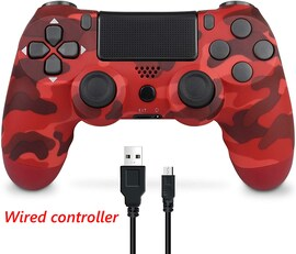 PS4 Wired Controller Dual Shock 4 Gamepad For Sony Playstation 4 Red Camouflage