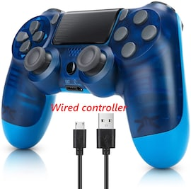 PS4 Wired Controller Dual Shock 4 Gamepad For Sony Playstation 4 Transparent Blue
