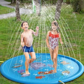 100/170cmx Children Outdoor Funny Toys Kids Inflatable Round Water Splash Play Pools Playing Sprinkler Mat Yard Water Sp Blue