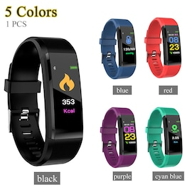 115plus Bluetooth Smart Watch Heart Rate Blood Pressure Monitor Fitness Tracker Bracelet Black