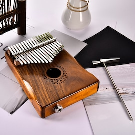 17 Keys EQ kalimba Acacia Thumb Piano Link Speaker Electric Pickup with Bag Cable