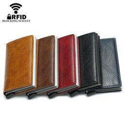 2020 RFID Smart Wallet Business Card Holder Hasp Aluminum Metal for Man and Women - Coffee X-12A
