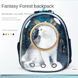 2021Carrier Bags Breathable Pet Carriers Small Dog Cat Backpack Travel Space Capsule Cage Pet Transport Bag Carrying For Blue