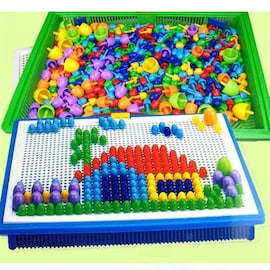 296 Pieces/Set Box-packed Grain Mushroom Nail Beads Intelligent 3D Puzzle Games Jigsaw Board for Kids