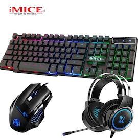 3 in 1 Gaming Sets Keyboard Mouse Earphone Black