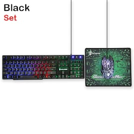 3in1 T6 Rainbow Backlit Keyboard Mouse PAD Set For PC PS4 PS3 Xbox One Black