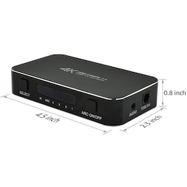4 in 1 out HDMI 2.0 Switcher Box Compatible with MacBook Xbox PS4 Roku DVD Fire TV Black
