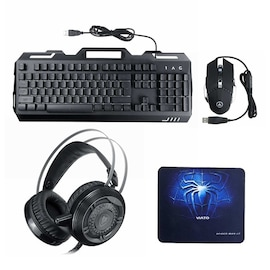 4in1 Mouse 3200DPI Headset and Mechanical Backlight Keyboard with Phone Holder Set Pad