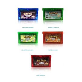 5-Pack 32 Bit Video Game Cartridge Console Card for Pokemon GBA Emerald FireRed LeafGreen Ruby Sapphire with Shiny Labe Gaming