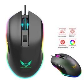 6400DPI Gamimg Mouse RGB LED Breathing Backlight Wired Macro Black