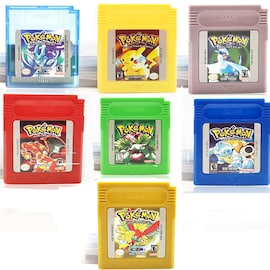 7-Pack Video Game for 16 Bit Cartridge Pokemon Console Card Series Blue Green Silver Crystal Yellow Red Golden Version Gaming