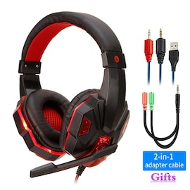 Adjustable Gaming Headset For SONY Playstation/Xbox/NS/PC with Noise Cancelling and Mic Auriculares Red