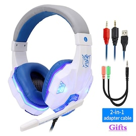 Adjustable Gaming Headset For SONY Playstation/Xbox/NS/PC with Noise Cancelling and Mic Auriculares White