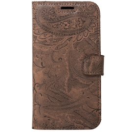 Apple iPhone 12- Surazo® Phone Case Genuine Leather- Ornament Brown
