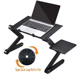 aptopx Table Stand Adjustable Folding Design Stand Computer Desk for Ultrabook Netbook Tablet with Mouse Pad Office Furn Black
