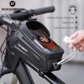 Bike Bag Rainproof Bicycle Bag 6.8 Inch Touch Screen Bike Hard Shell Bag 1.7L MTB Bike Frame Front Top Tube Phone Bag Black