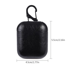 Black Genuine Leather Anti-drop Shockproof Protective Case for Apple AirPod Earphone