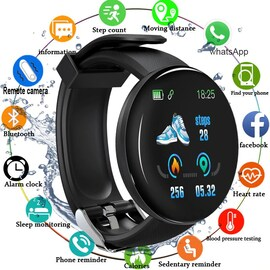 Bluetooth Waterproof Smart Watch D18 with Blood Pressure and Heart Rate Monitor Black