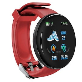 Bluetooth Waterproof Smart Watch D18 with Blood Pressure and Heart Rate Monitor Red
