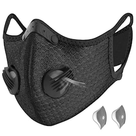 Bundle - 2 items: reusable washable cycling sport shield face mask and activated carbon filters Universal Black Half-Face Robotic