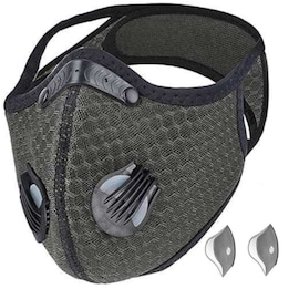 Bundle - 2 items: reusable washable cycling sport shield face mask and activated carbon filters Universal Grey Half-Face Robotic
