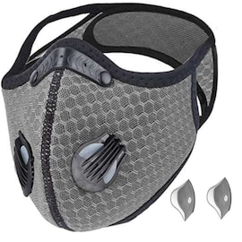 Bundle - 2 items: reusable washable cycling sport shield face mask and activated carbon filters Universal Silver Half-Face Robotic